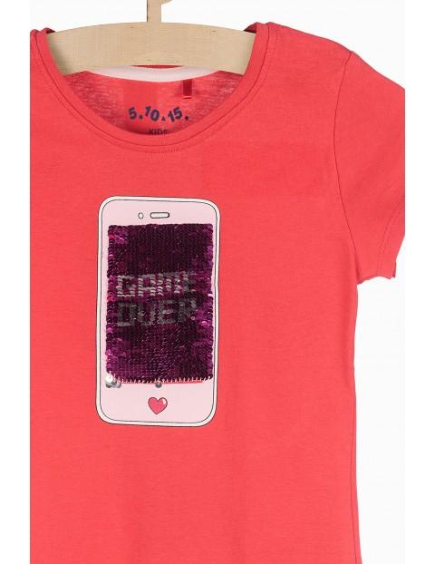T-shirt dziewczęcy czerwony z cekinami