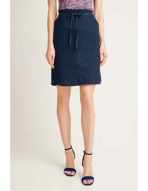 Wiązana krótka spódnica damska- granatowa