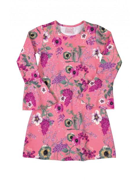 Sukienka w kwiaty - różowa z długim rękawem