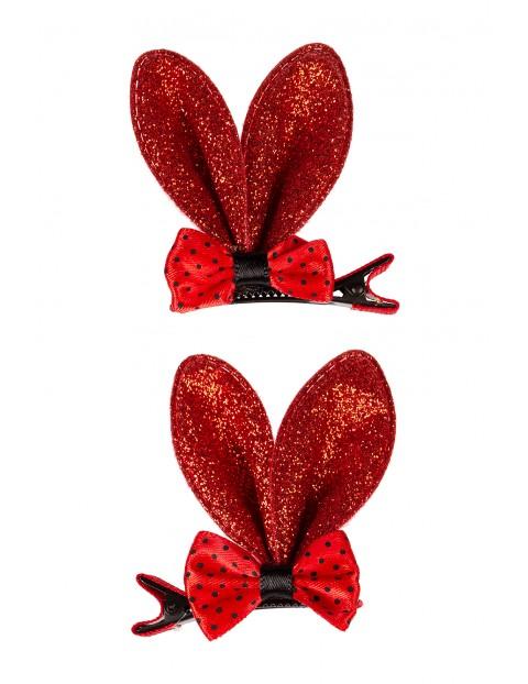 Spinki dziewczęce- czerwone brokatowe uszy- 2szt