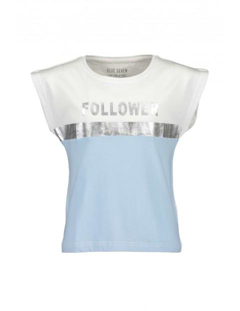 Koszulka dziewczęca z holograficznym napisem -biało-niebieska