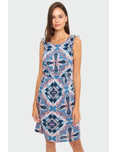 Wiskozowa sukienka z nadrukiem z ozdobnym wiązaniem na ramionach
