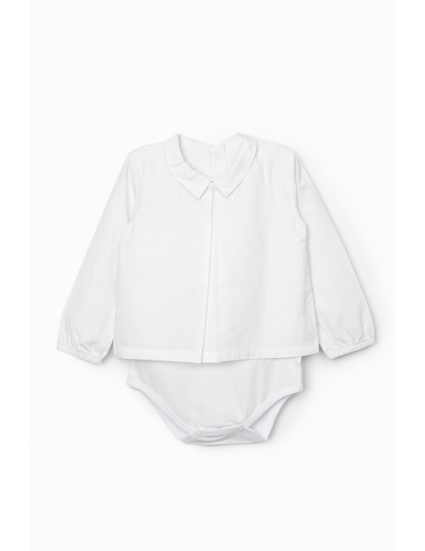 Body dziewczęce koszulowe z kołnierzykiem - białe