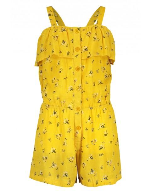 Kombinezon dziewczęcy na lato- żółty w kwiatki