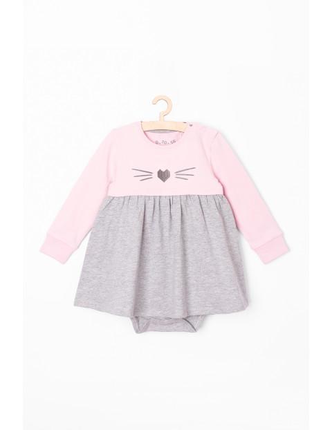 Body-sukienka dziewczęca różowo-szare z długim rękawem