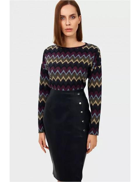 Sweter damski z kolorowe geometryczne wzory