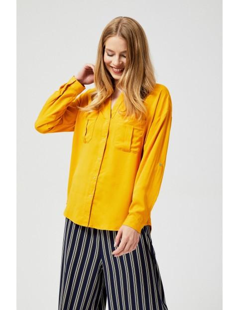 Musztardowa koszula damska z kieszeniami