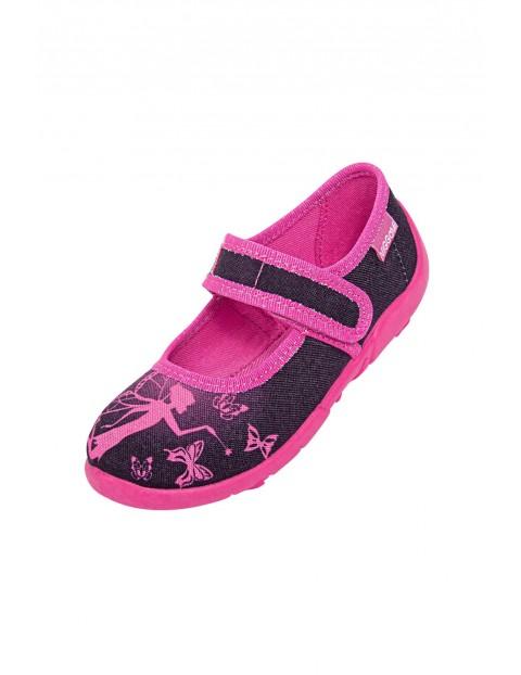 Kapcie dziewczęce różowo-czarne zapinane na rzep