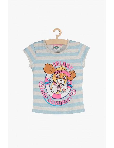 T-shirt dziewczęcy w paski Psi Patrol