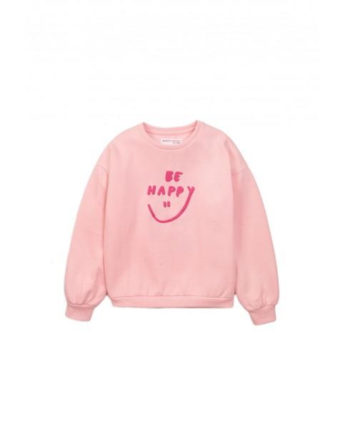 Bluza dresowa dziewczęca różowa Be Happy