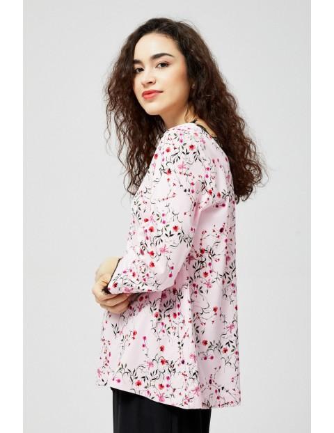 Koszula damska z łączonych materiałów z kwiatowym wzorem różowa