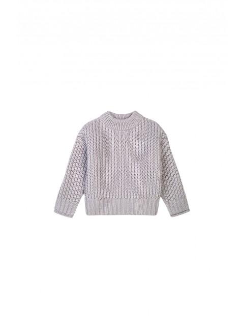 Sweter dziewczęcy dzianinowy szary
