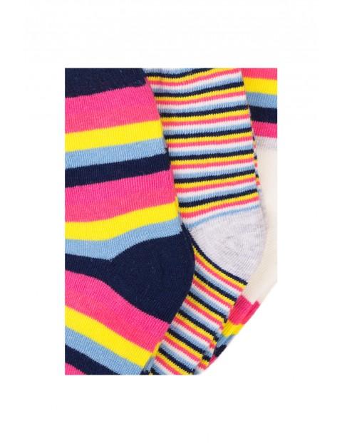 Skarpety dziewczęce w kolorowe paski 3-pak
