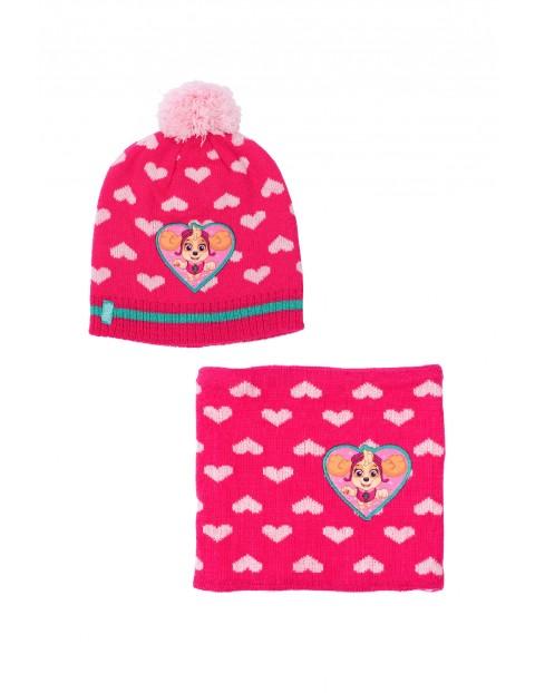 Komplet dziewczęcy różowy- czapka i komin Paw Patrol