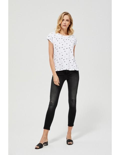 Bawełniany t-shirt z rozcięciami po bokach
