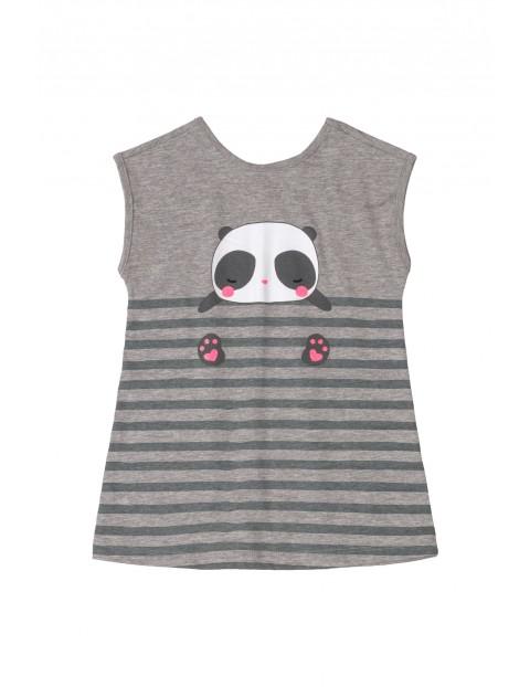 Sukienka niemowlęca z pandą - szara