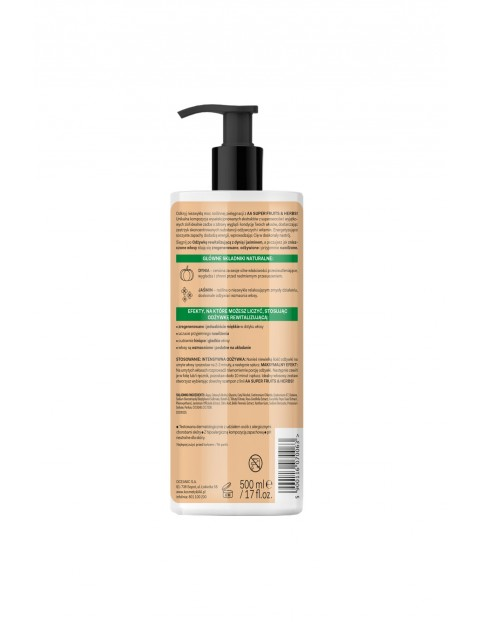 AA Super Fruits&Herbs odżywka rewitalizująca włosy zniszczone dynia&jaśmin 500 ml