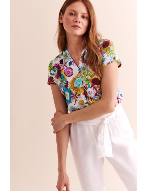 Bluzka tkaninowa damska w kwiaty