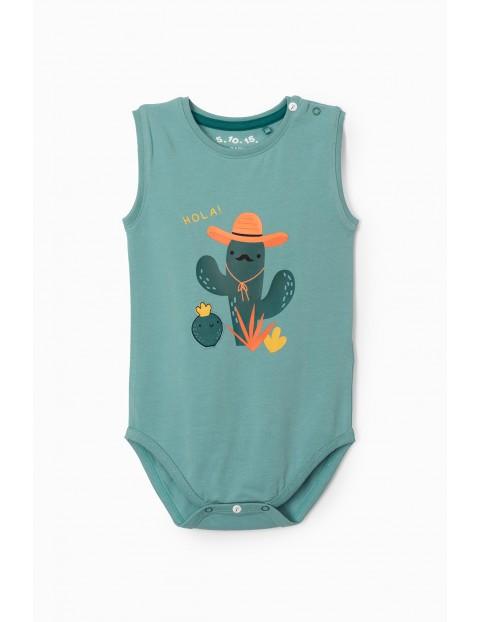 Body niemowlęce w kolorze zielonym z kaktusem