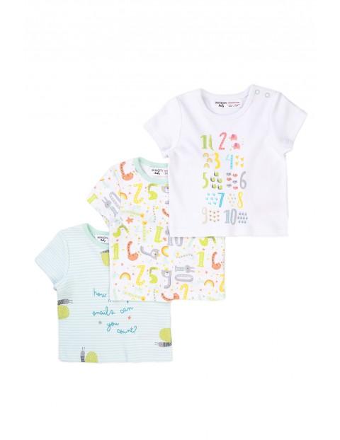 Bawełniane T-shirty niemowlęce w cyferki 3-pak