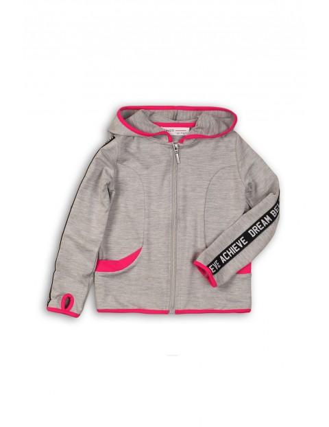 Sportowa bluza dla dziewczynki- szara z różowymi wstawkami