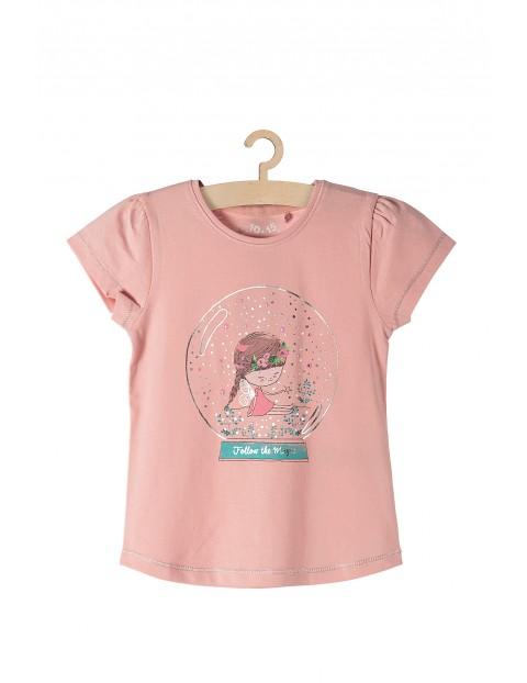 T-shirt bawełniany dla dziewczynki- różowy Magic