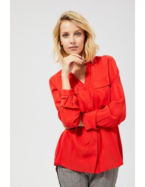 Wiskozowa koszula z kieszeniami- czerwona