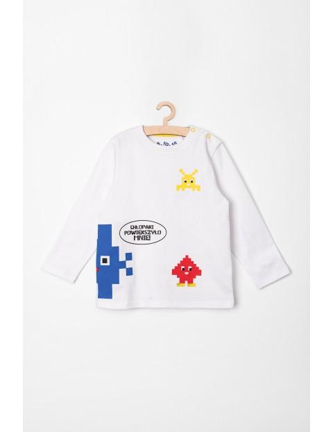 Bluzka niemowleca z długim rękawem- biała w kolorowe stworki