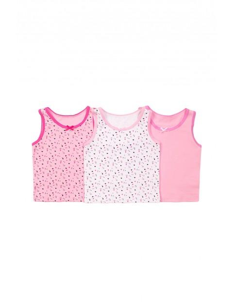 Koszulki dziewczęce 3pak różowe w serduszka rozm 92/98