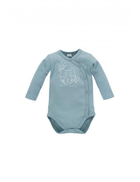 Bawełniane kopertowe body niemowlęce rozpinane SLOW LIFE