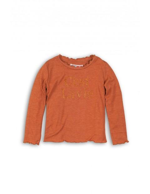 Bluzka dziewczęca brązowa z brokatowym napisem