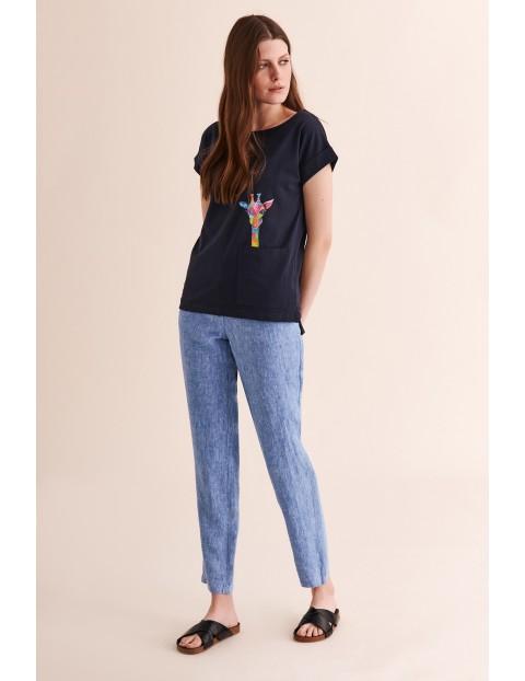 Lniane spodnie damskie - 7/8 nogawka Tatuum - niebieskie