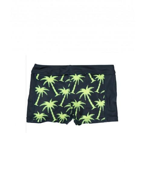 Kąpielówki krótkie czarne w zielone palmy