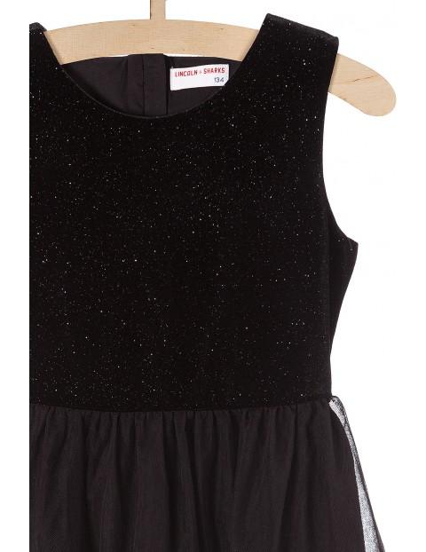 Sukienka czarna z tiulowa falbanką i połyskującą górą