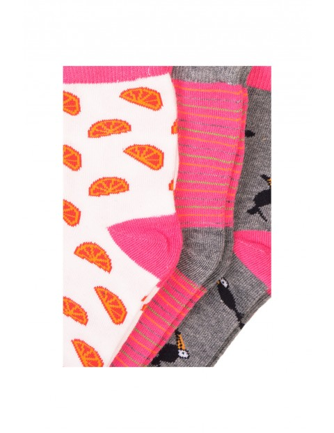 Skarpety dziewczęce w kolorowe wzory 3-pak