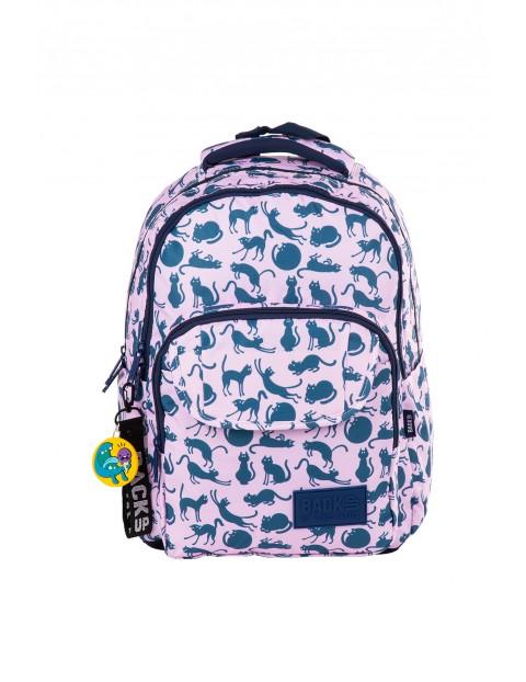 Plecak dla dziewczynki BACKUP różowy w koty