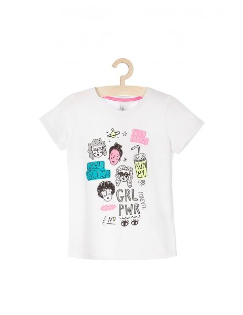 Koszulka dziewczęca 100% bawełna- biała z nadrukami