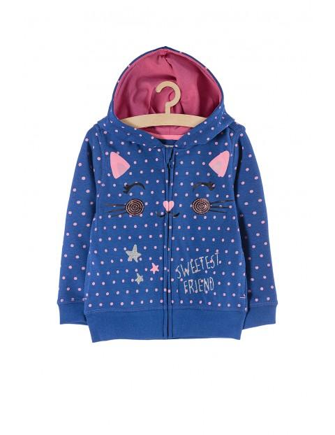 Bluza dresowa z kapturem - niebieska z kotem