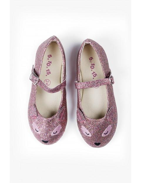 Różowe brokatowe balerinki z uszami- buty dla dziewczynki