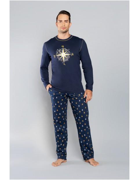 Piżama męska w gwiazdki - długi rękaw + długie spodnie - granat/druk