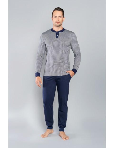 Piżama męska -  długi rękaw i długie spodnie -  granatowa