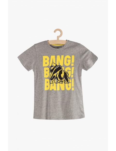 T-Shirt chłopięcy szary z kontrastowymi napisami