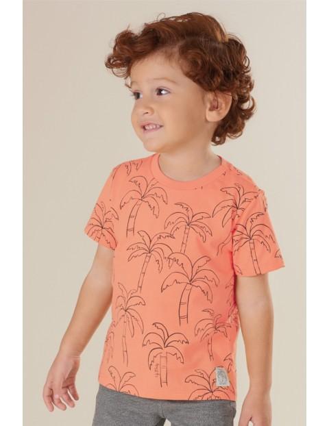 T-shirt chłopięcy bawełniany w palmy