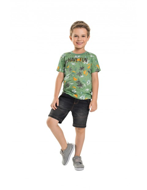 T-shirt chłopięcy w palmy - zielony