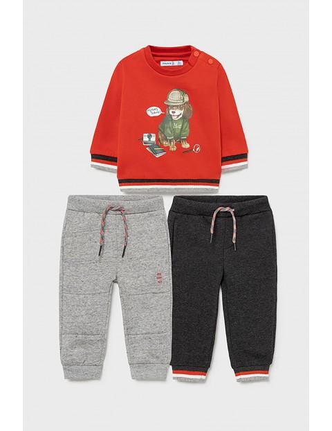 Komplet dresowy 3 częściowy - bluza z nadrukiem i 2 x spodnie dresowe z troczkiem