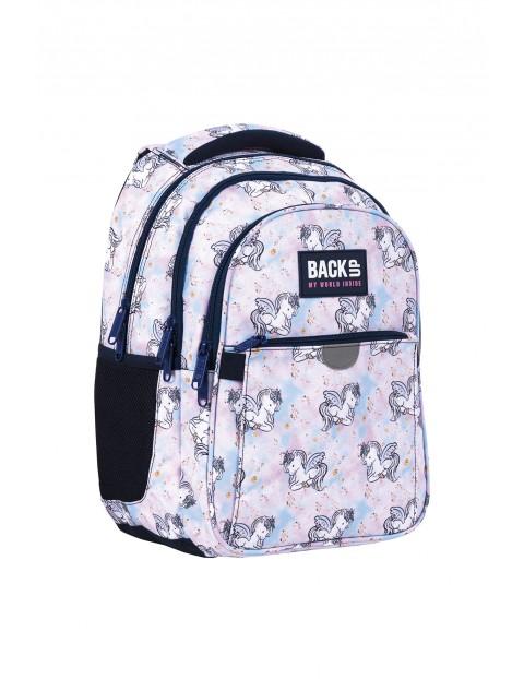 Plecak BackUp dziewczęcy 3komorowy - różowy