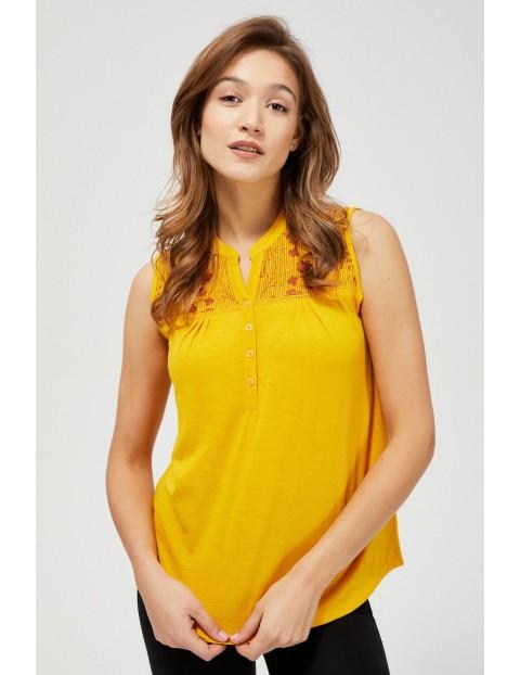 Żółty top z zaokrąglonym dołem