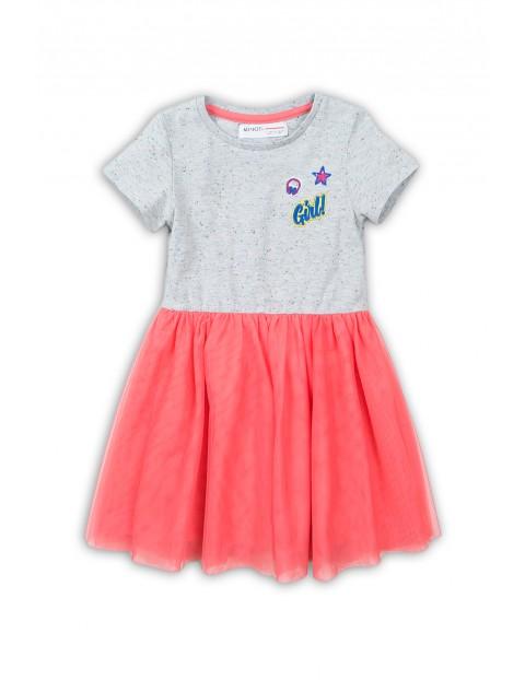 Sukienka dziewczęca szaro-różowa z tiulowym dołem