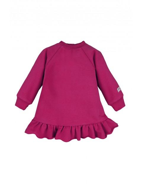 Bawełniana sukienka dresowa - bordowy
