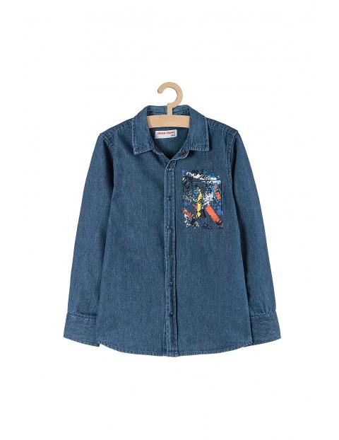 Koszula chłopięca jeansowa z długim rękawem- niebieska